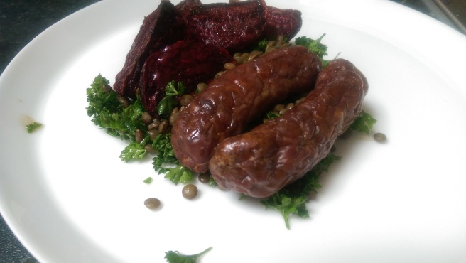 Venison sausage, roasted beetroot and Puy lentils